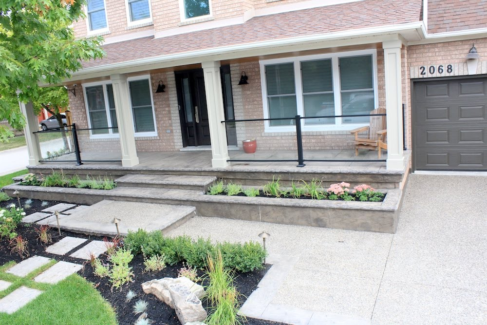 Aggregate Stamped Concrete Walkway and Porch